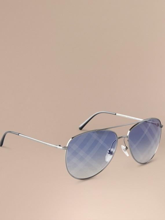 Check Lens Aviator Sunglasses