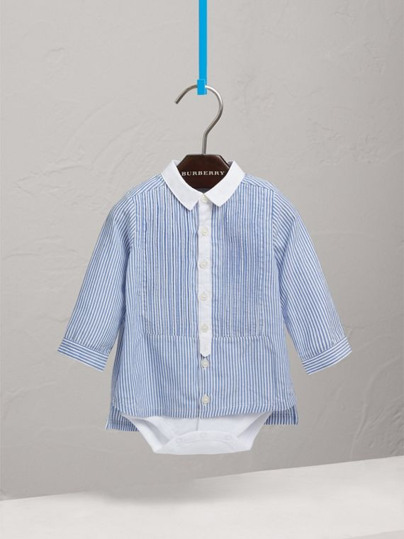 Pintuck Bib Striped Cotton Linen Bodysuit in Pale Blue/white | Burberry - cell image 2
