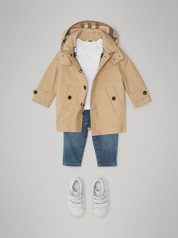 Detachable Hood Mercerised Cotton Trench Coat in Honey