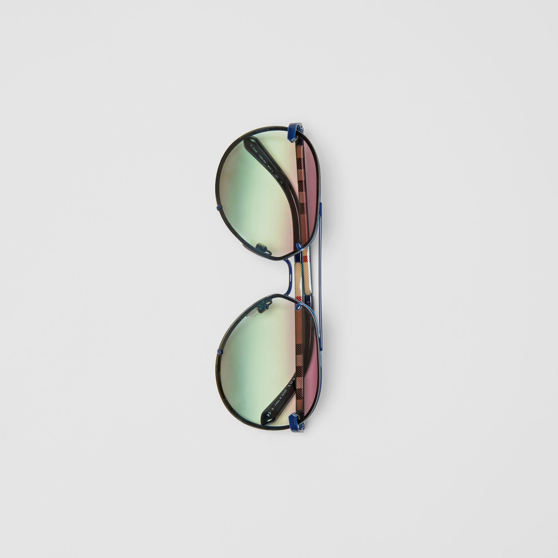 Check Detail Pilot Sunglasses in Blue - Women | Burberry - gallery image 3