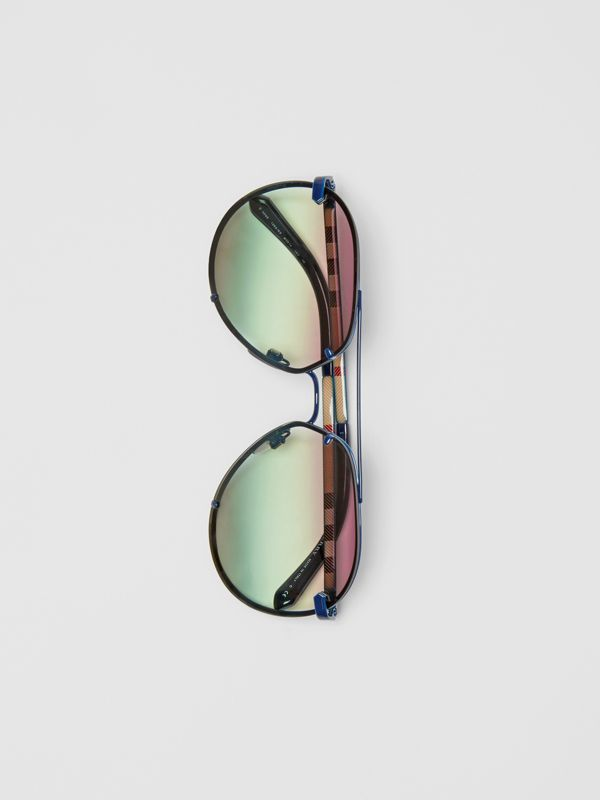 Check Detail Pilot Sunglasses in Blue - Women | Burberry - cell image 3