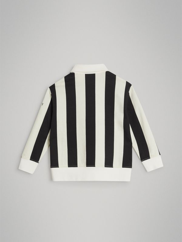 Striped Cotton Jersey Rugby Shirt in Black | Burberry Australia - cell image 3
