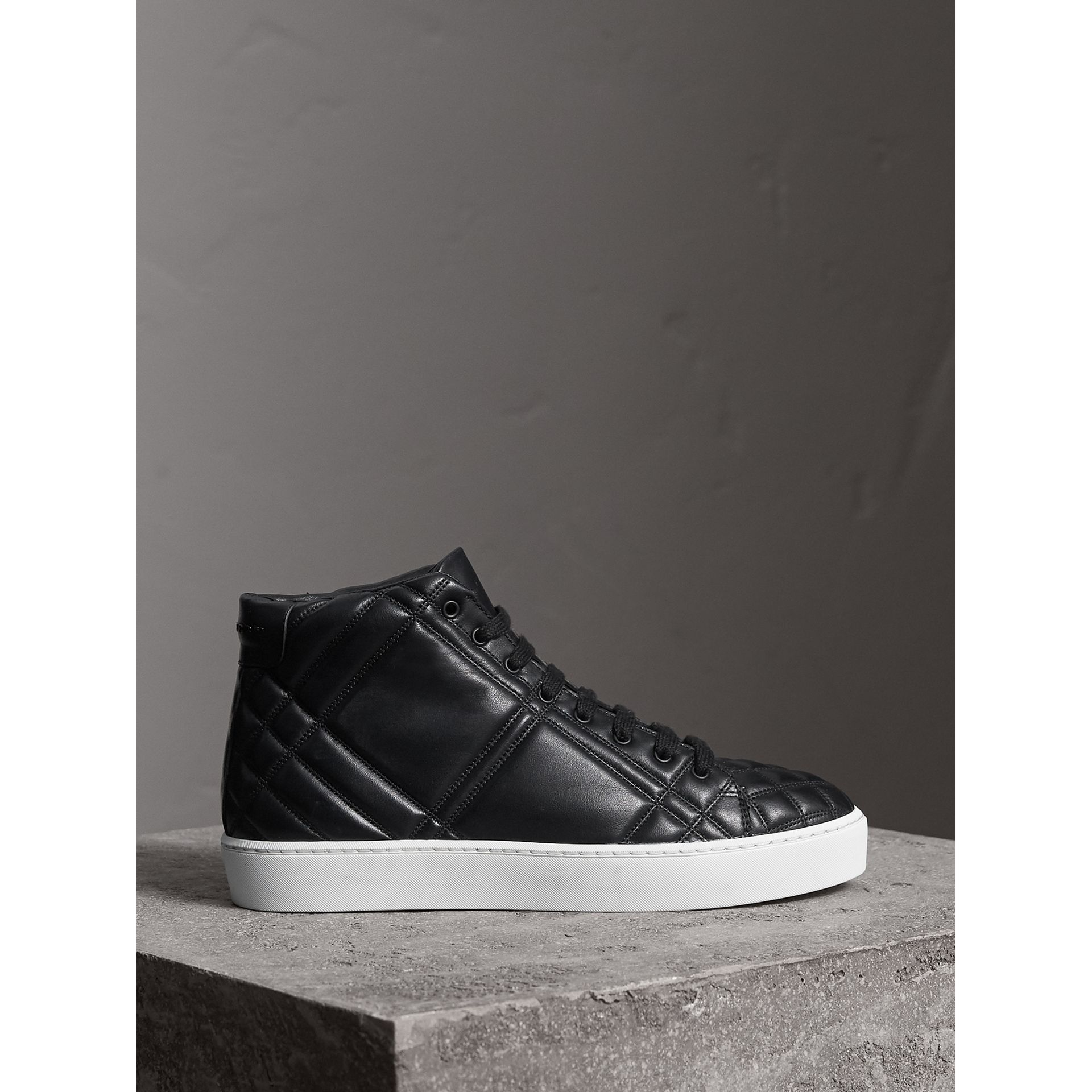 Check-quilted Leather High-top Sneakers in Black - Women | Burberry - gallery image 4