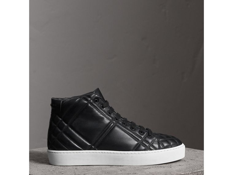 Check-quilted Leather High-top Trainers in Black - Women | Burberry - cell image 4