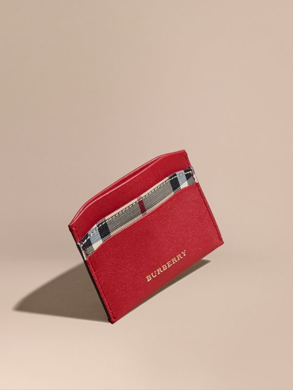 Check and Leather Card Case Parade Red