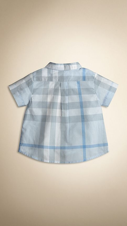 Porcelain blue Washed Check Cotton Short Sleeve Shirt - Image 2