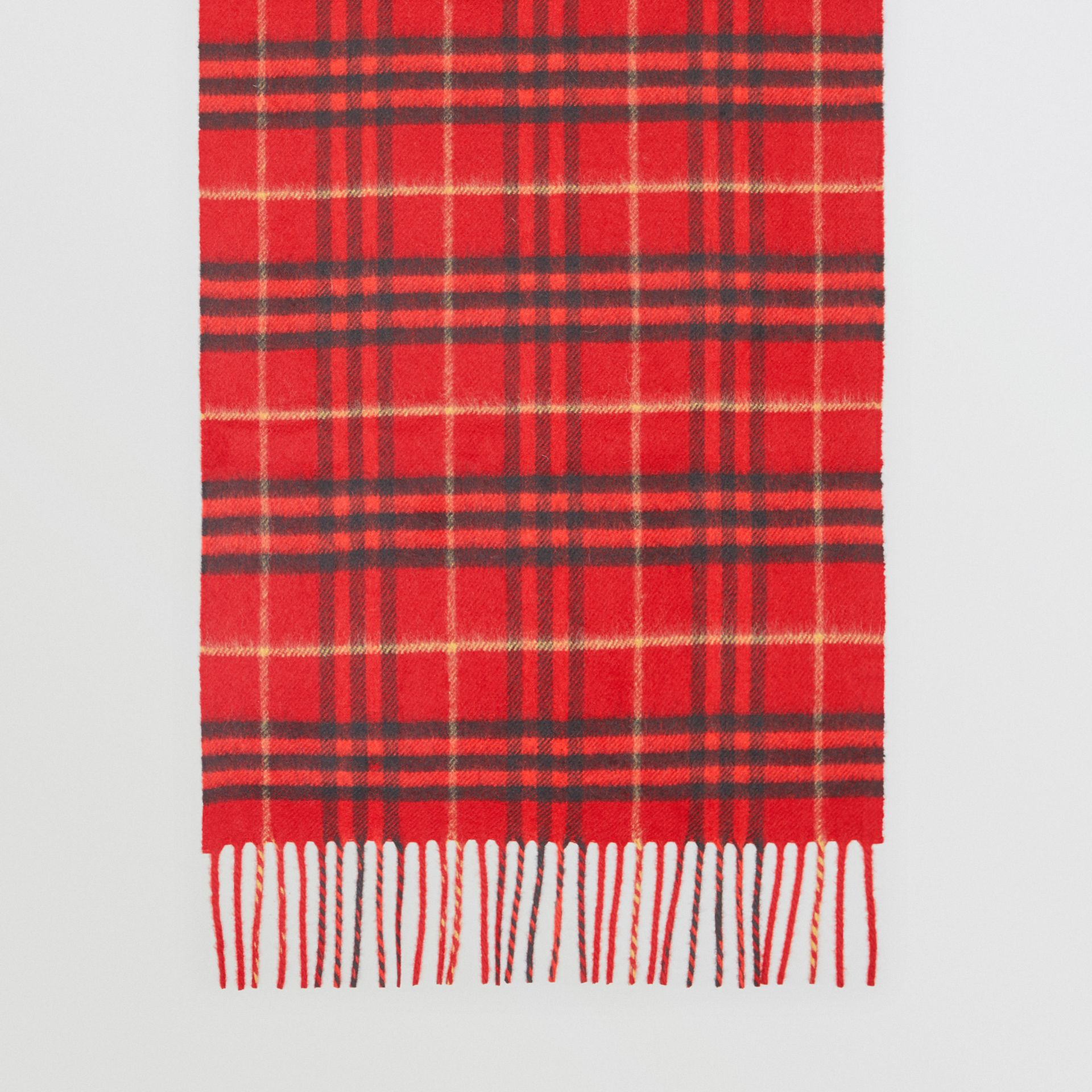 The Classic Vintage Check Cashmere Scarf in Military Red | Burberry Hong Kong - gallery image 4