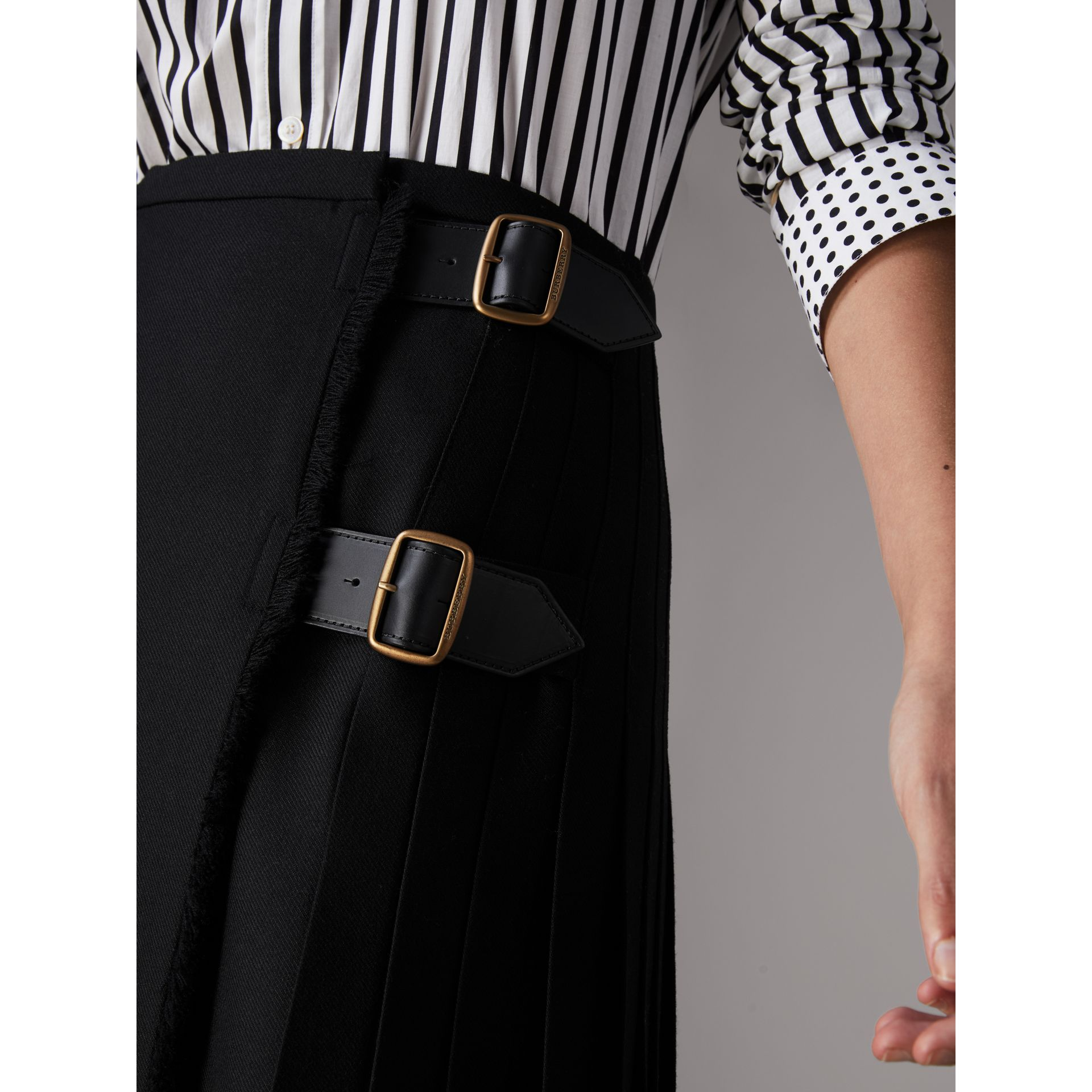 Wool Twill Kilt in Black - Women | Burberry - gallery image 1