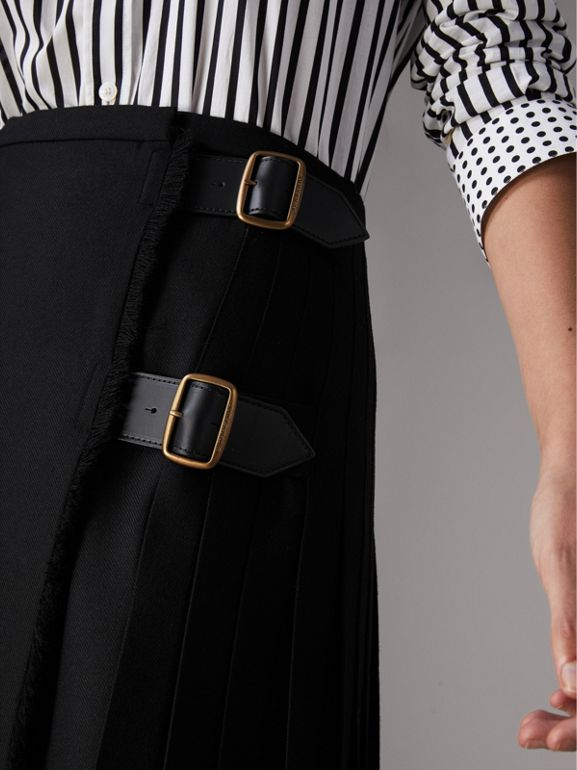 Wool Twill Kilt in Black - Women | Burberry - cell image 1
