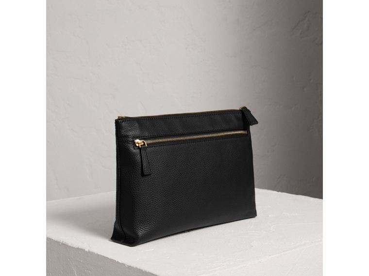 Large Embossed Leather Zip Pouch in Black | Burberry Singapore - cell image 4