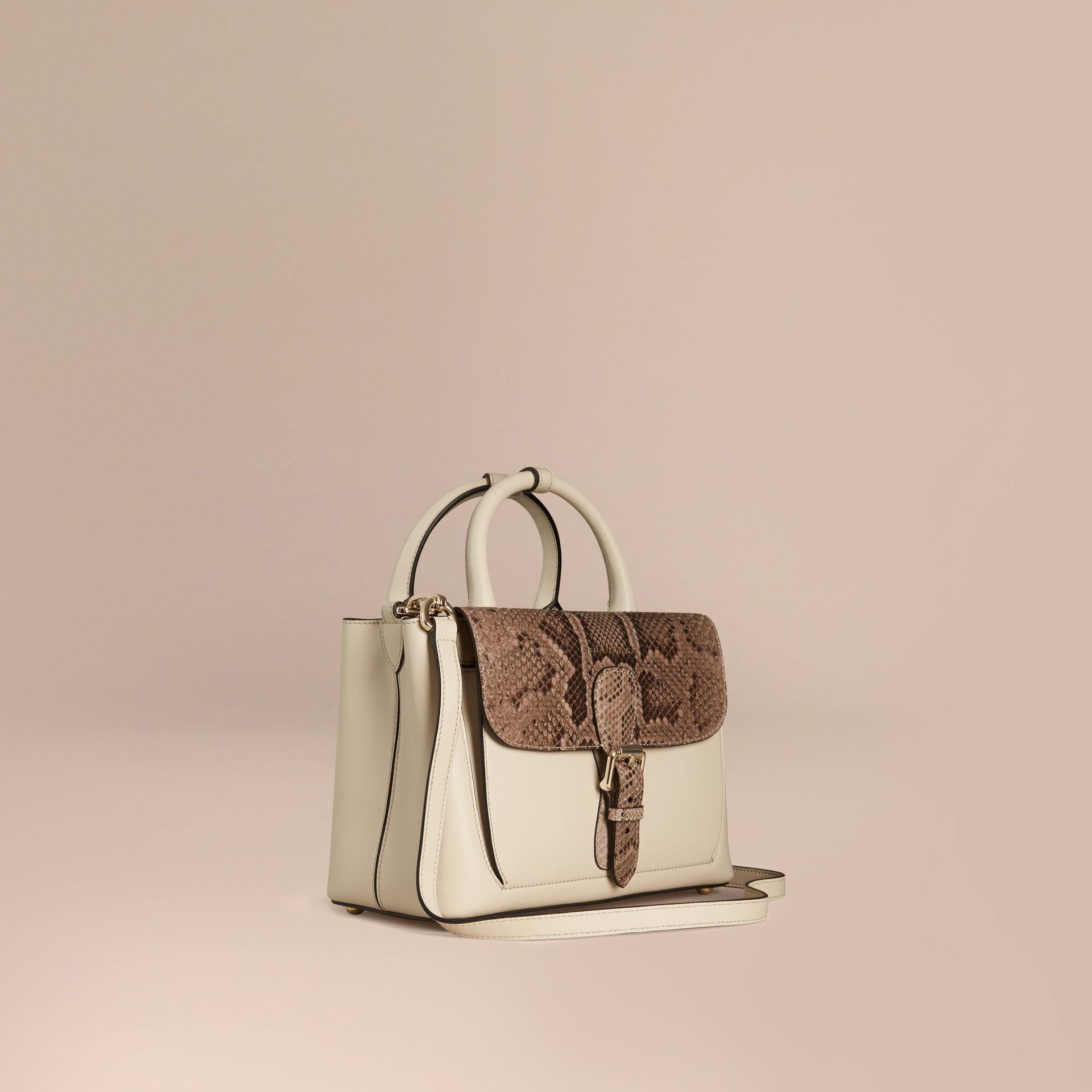 The Small Saddle Bag in Smooth Leather and Python - gallery image 1