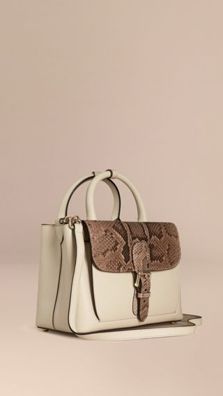 The Small Saddle Bag in Smooth Leather and Python