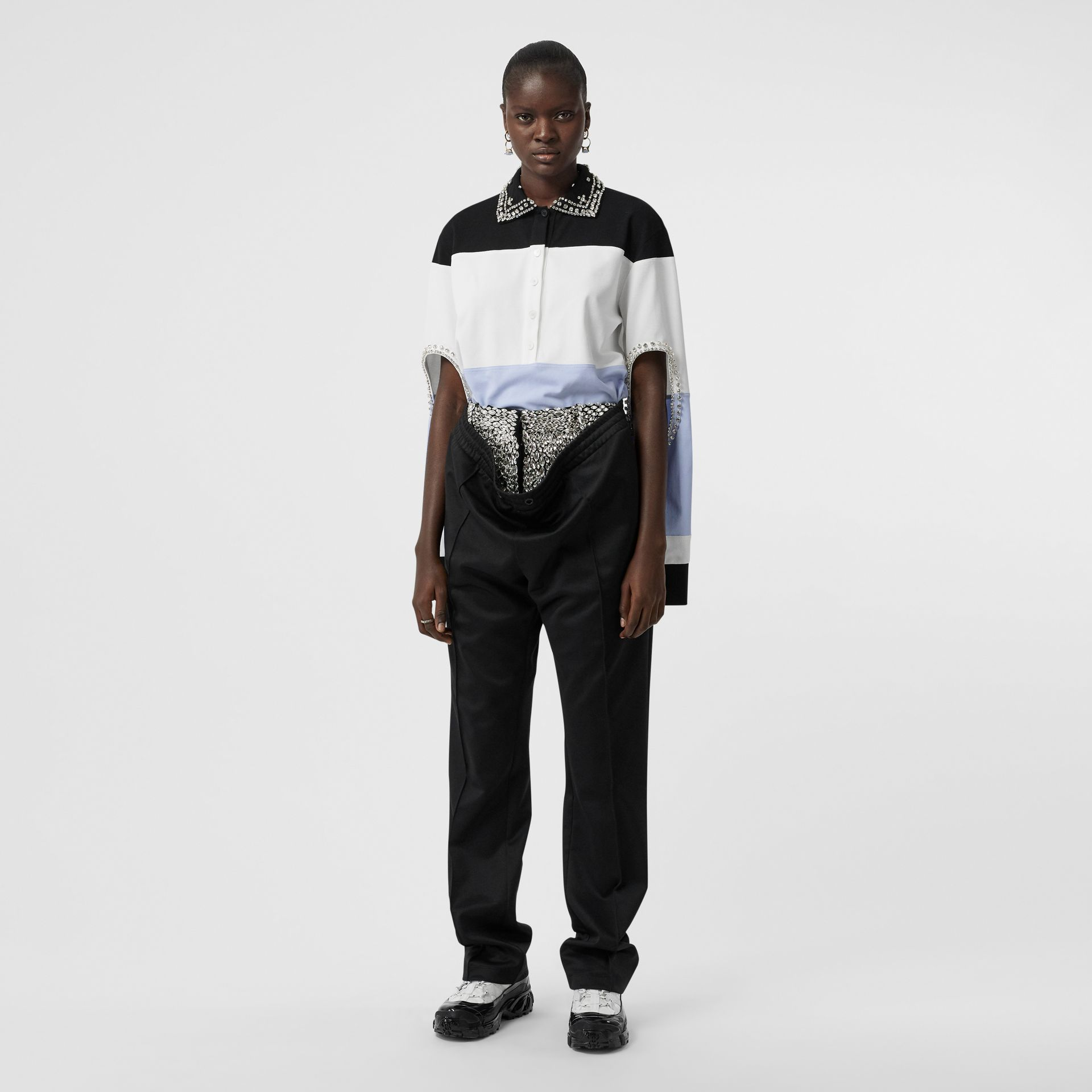 Crystal and Cut-out Detail Cotton Oversized Polo Shirt in Black - Women   Burberry - gallery image 4