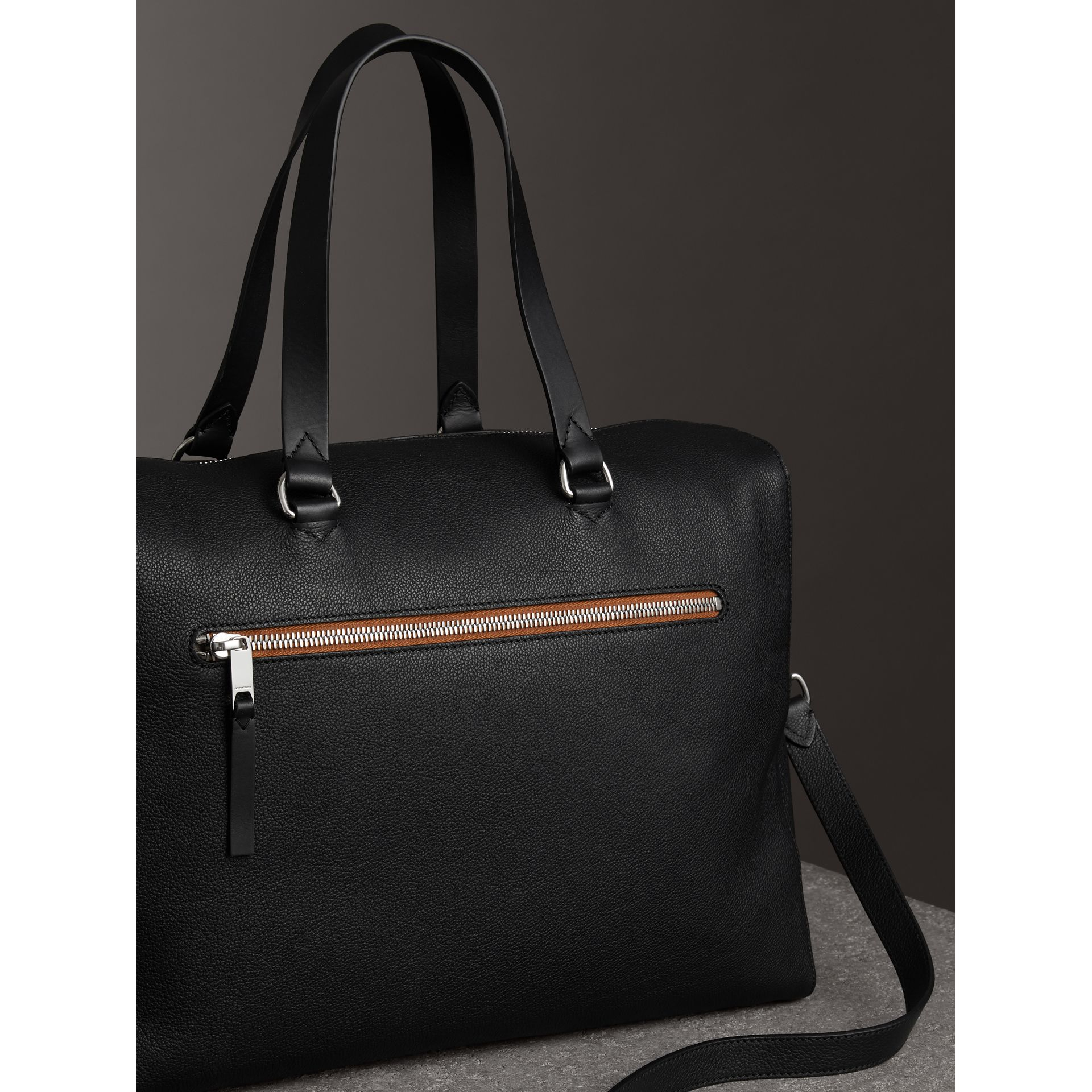 Embossed Grainy Leather Holdall in Black - Men | Burberry - gallery image 4