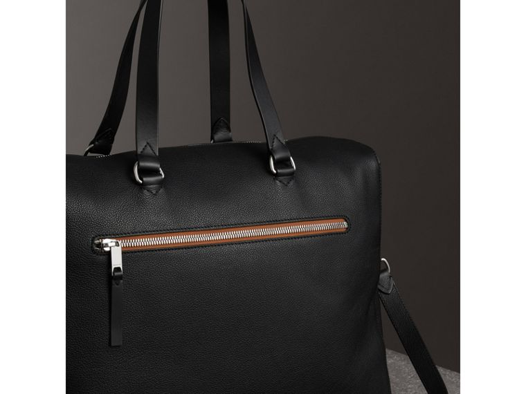 Embossed Grainy Leather Holdall in Black - Men | Burberry United States - cell image 4