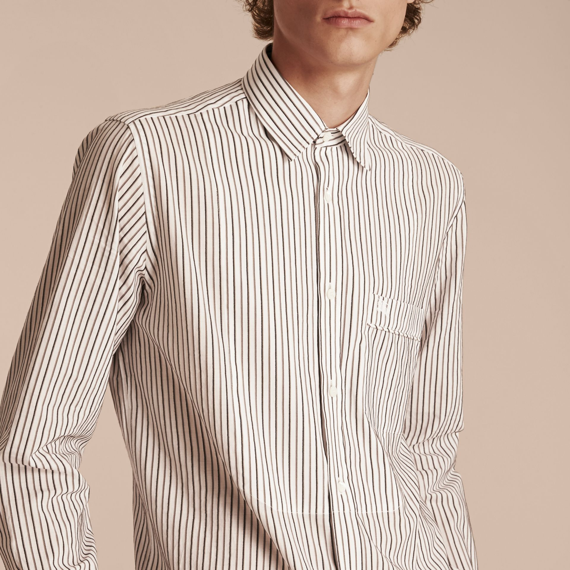 Striped Cotton Poplin Shirt - gallery image 5