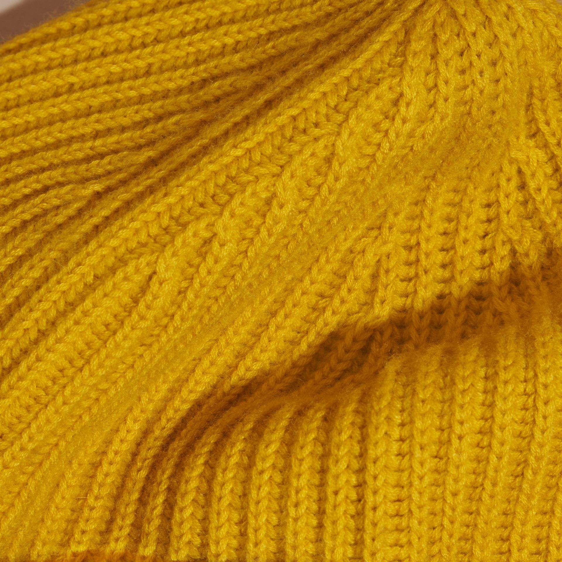 Ribbed Cashmere Beanie with Border Detail in Citrus Yellow/pale Grey - gallery image 2