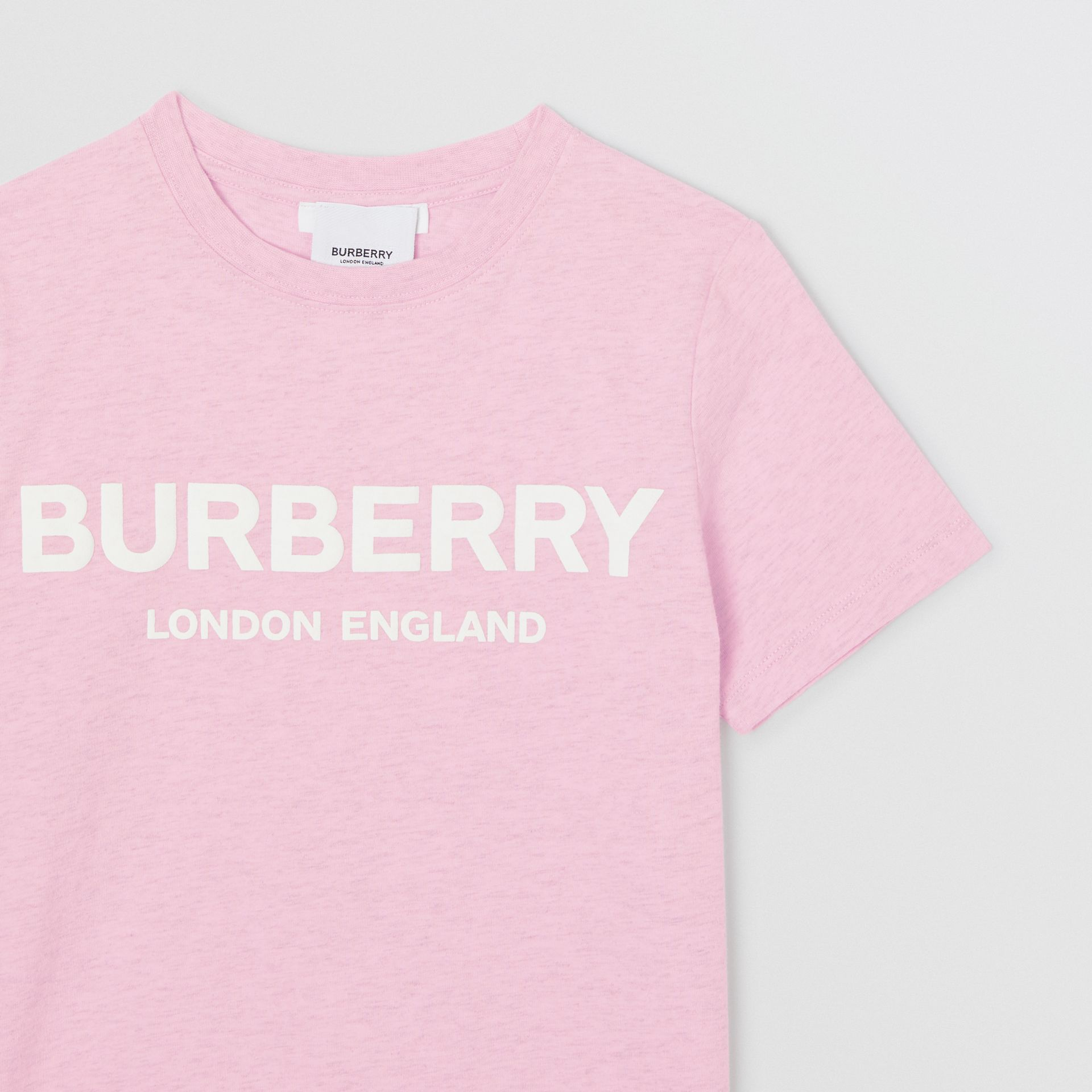 Logo Print Cotton T-shirt in Pale Neon Pink | Burberry - gallery image 4