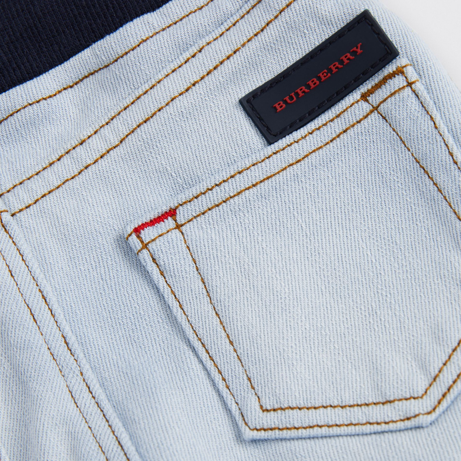 Relaxed Fit Pull-on Stretch Denim Jeans in Light Blue - Children | Burberry United Kingdom - gallery image 1