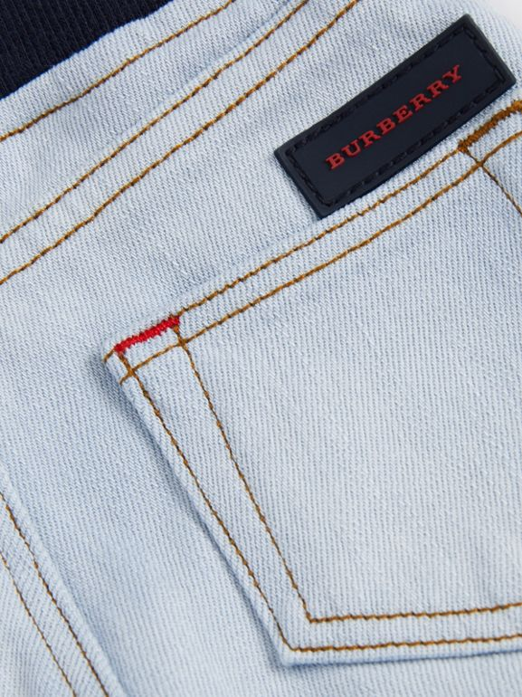 Relaxed Fit Pull-on Stretch Denim Jeans in Light Blue - Children | Burberry - cell image 1