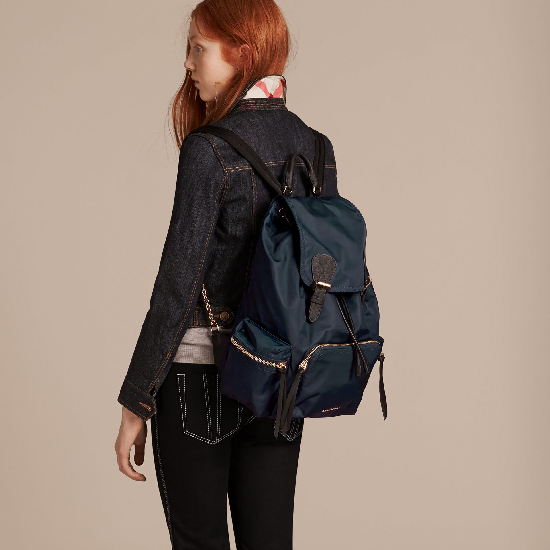 The Large Rucksack in Technical Nylon and Leather in Ink Blue - gallery image 3