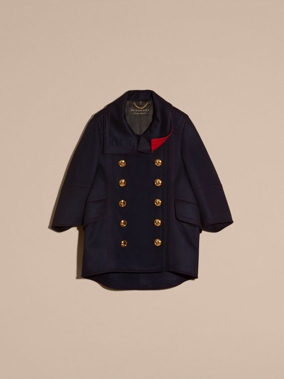 Navy Oversize Cashmere Wool Coat - cell image 3