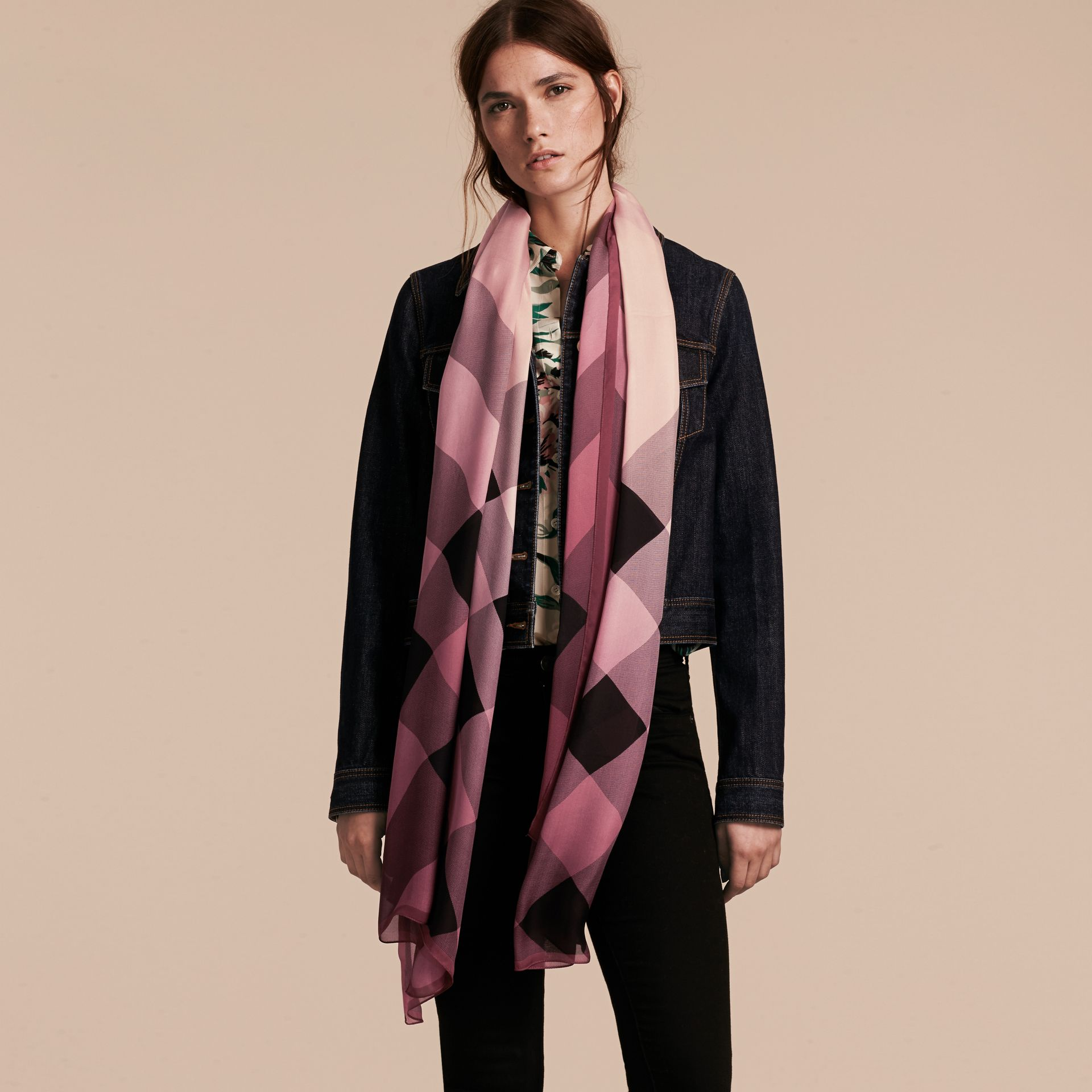Ombré Washed Check Silk Scarf in Ash Rose - Women | Burberry - gallery image 3