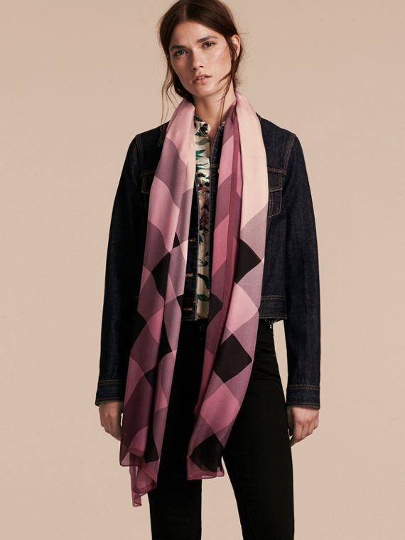 Ombré Washed Check Silk Scarf Rose - cell image 2