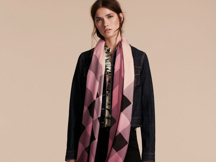 Ombré Washed Check Silk Scarf in Ash Rose - Women | Burberry Australia - cell image 2