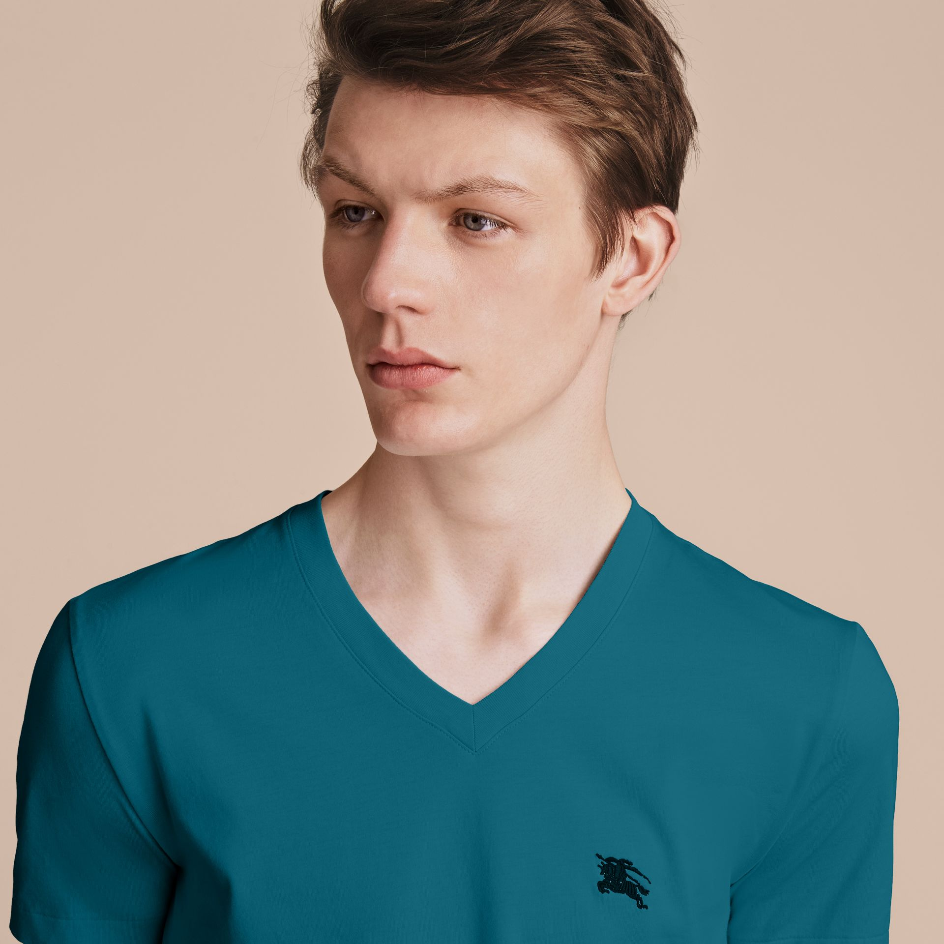 Cotton V-neck T-shirt in Mineral Blue - gallery image 5
