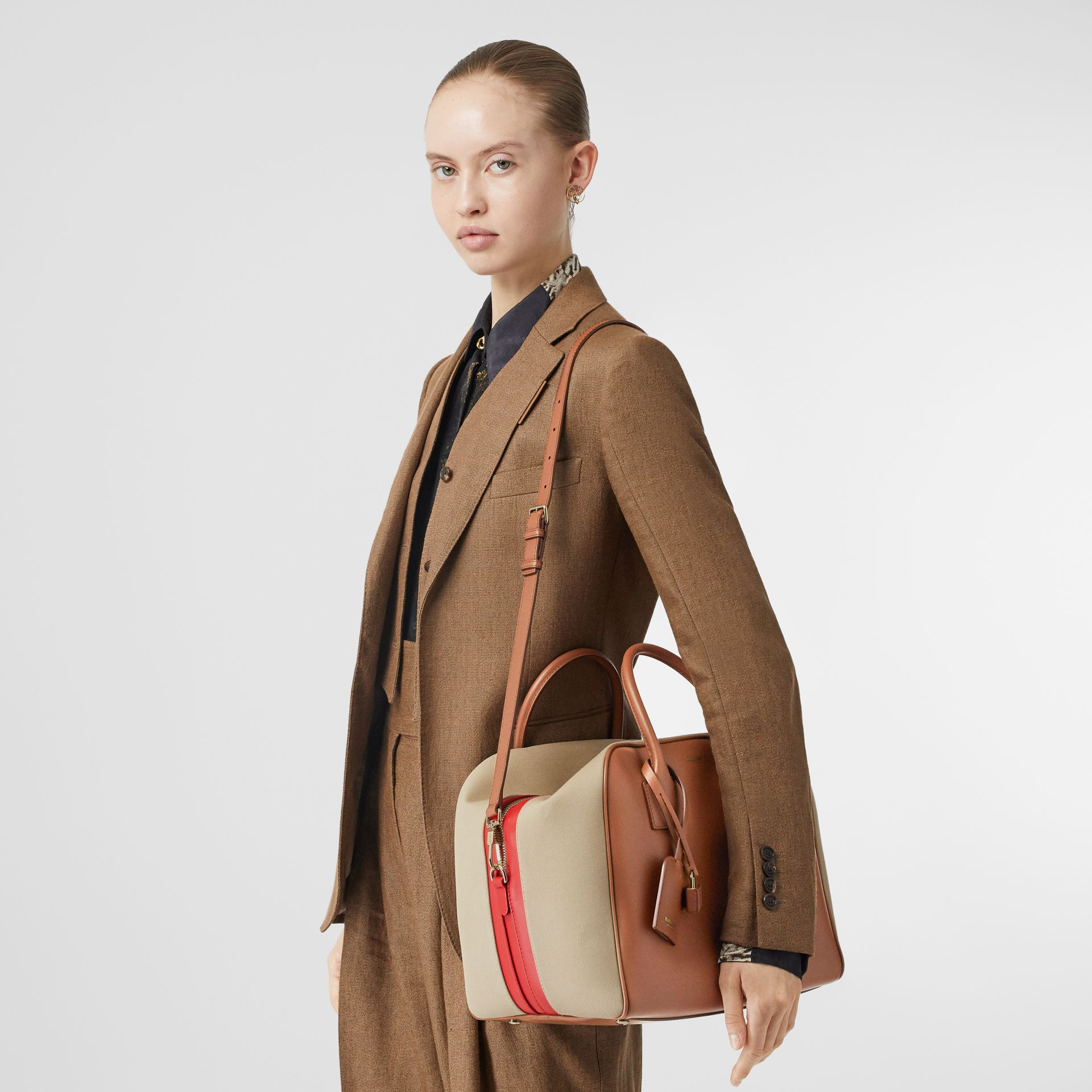 Medium Leather and Cotton Canvas Cube Bag in Malt Brown - Women | Burberry - gallery image 2