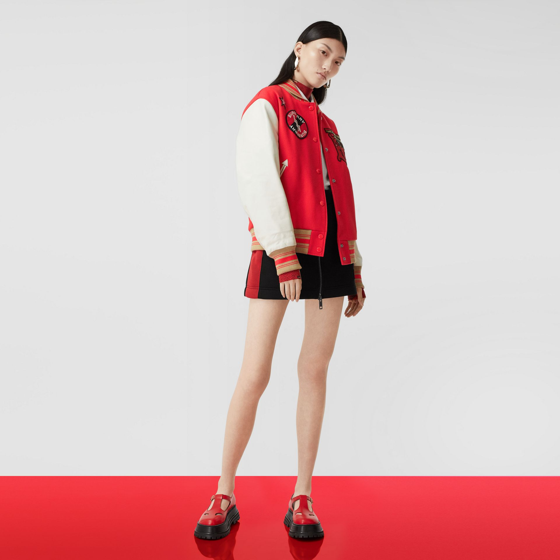 Contrast Sleeve Monogram Motif Wool Bomber Jacket in Bright Red - Women | Burberry - gallery image 5