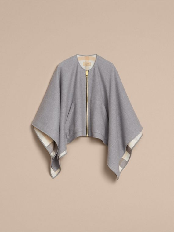 Merino Wool Poncho in Light Grey - Women | Burberry - cell image 3