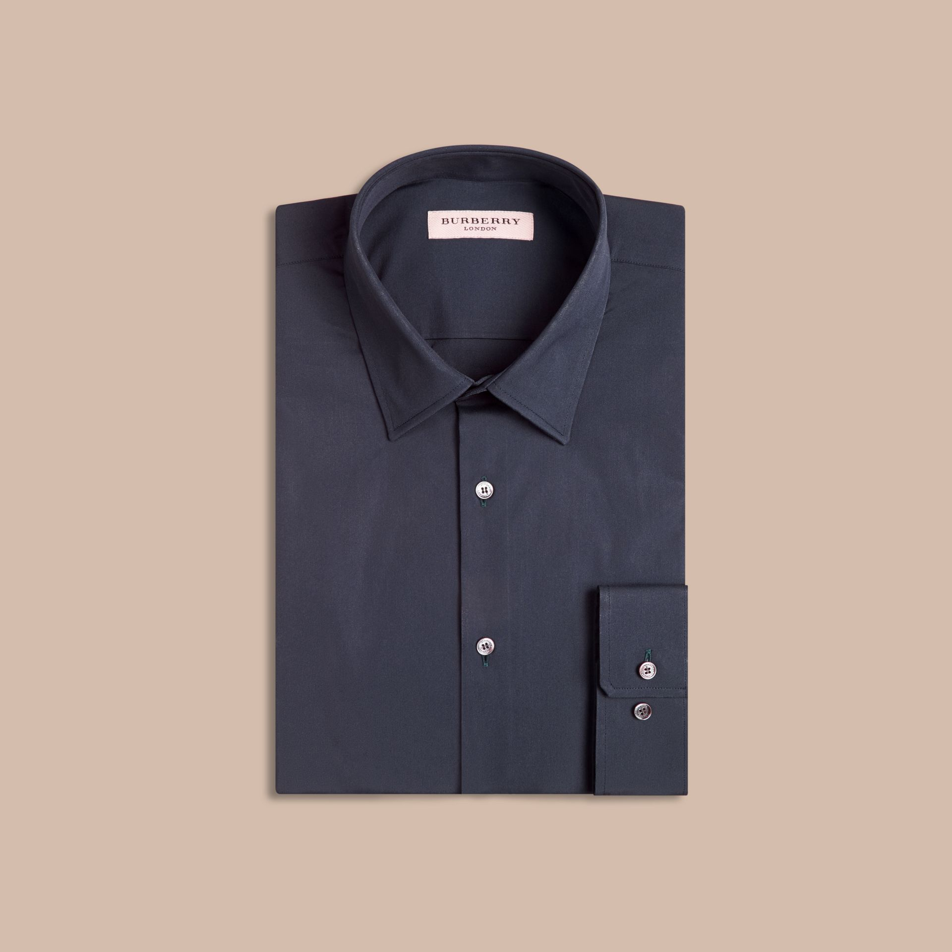 Navy Modern Fit Stretch Cotton Shirt Navy - gallery image 4