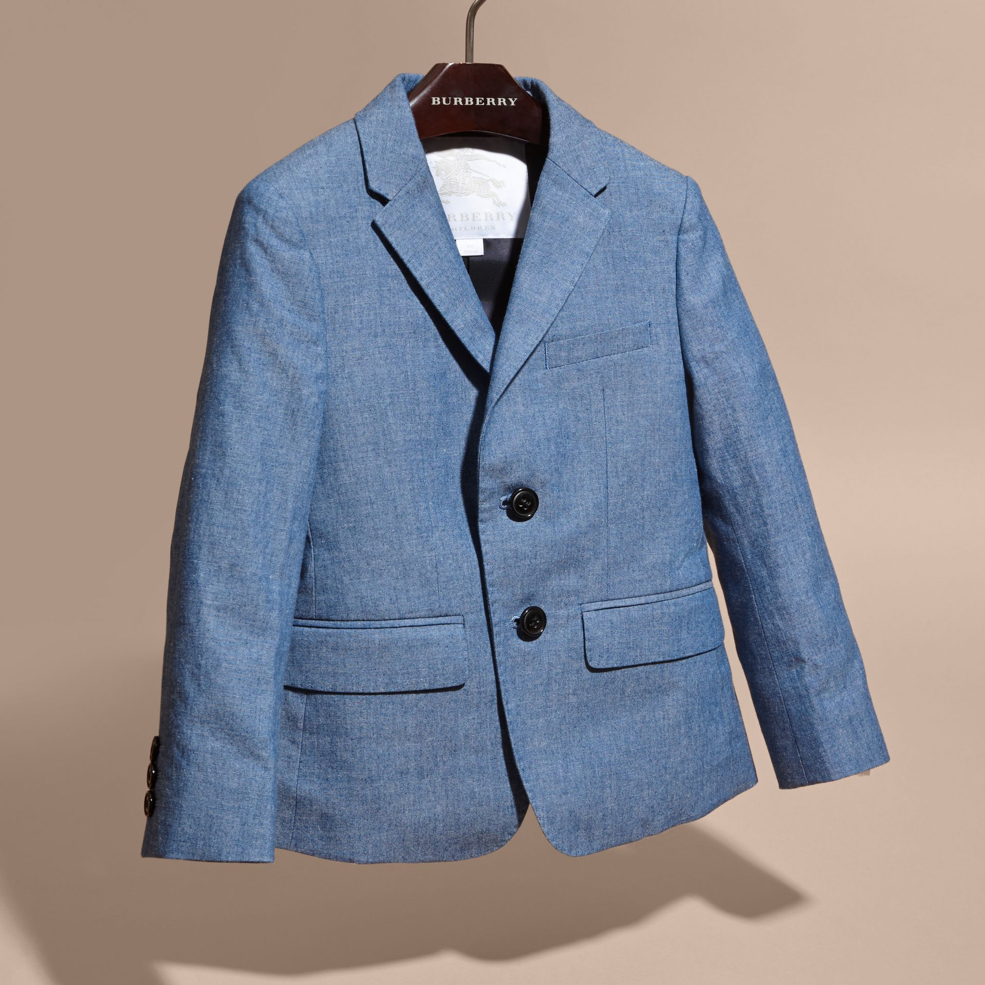 Stone blue Chambray Cotton Blazer - gallery image 3