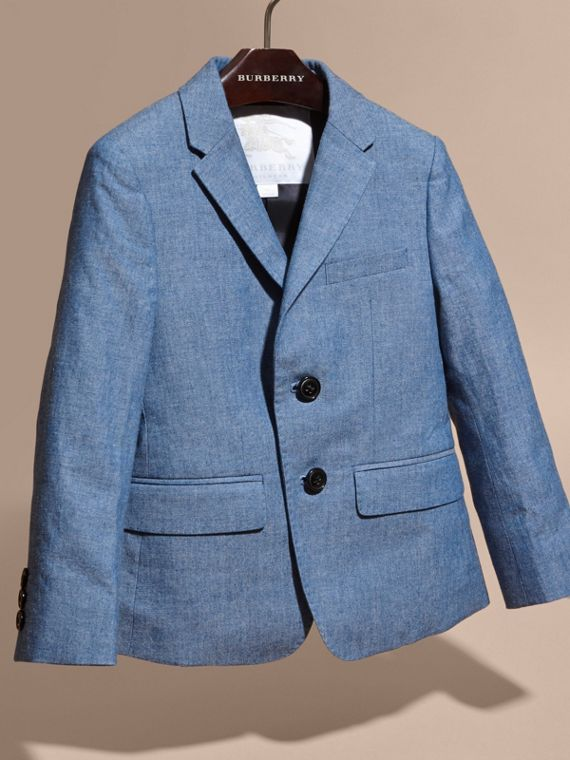 Stone blue Chambray Cotton Blazer - cell image 2