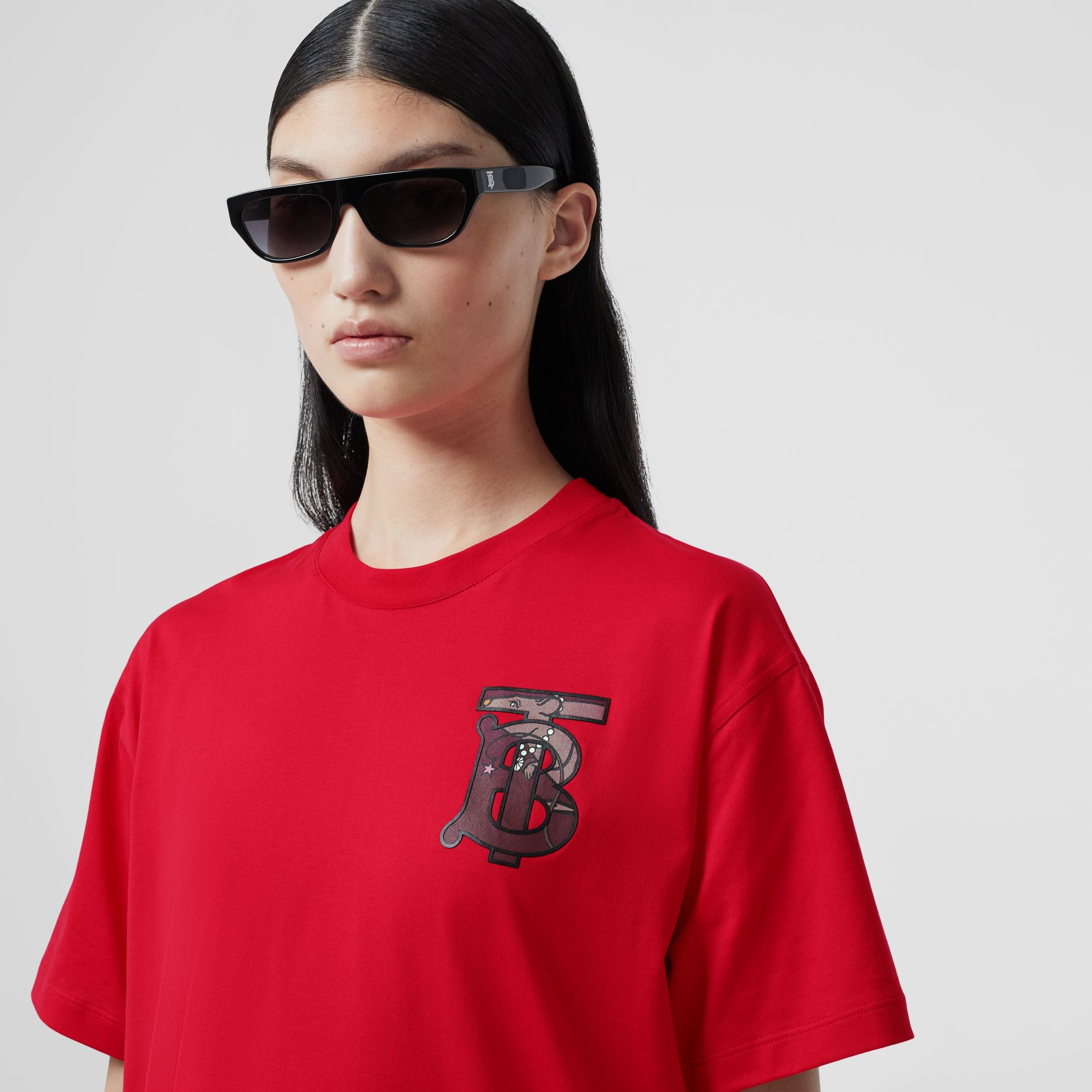 Monogram Motif Cotton Oversized T-shirt in Bright Red - Women | Burberry United Kingdom - gallery image 1