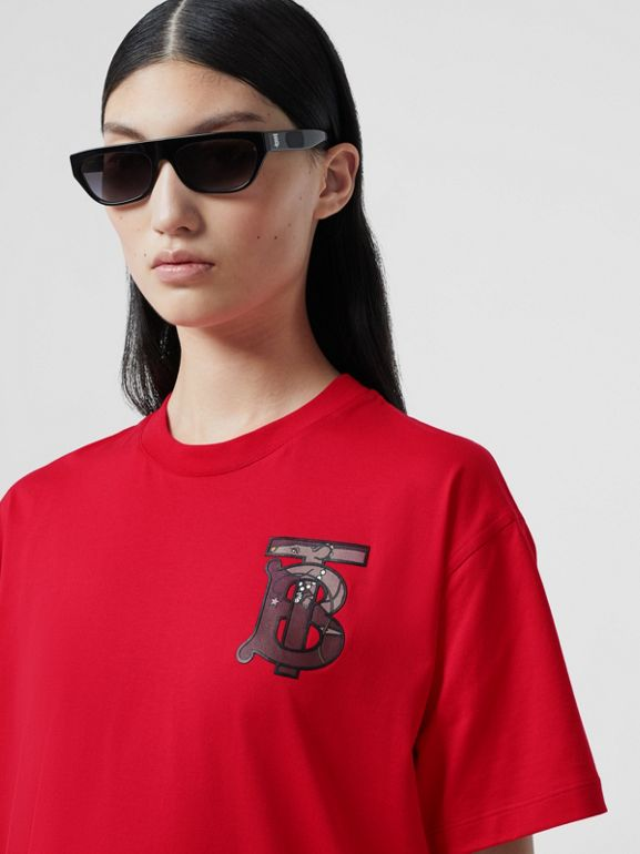 Monogram Motif Cotton Oversized T-shirt in Bright Red - Women | Burberry United Kingdom - cell image 1