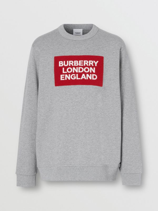 Logo Appliqué Cotton Sweatshirt in Pale Grey Melange - Men | Burberry - cell image 3