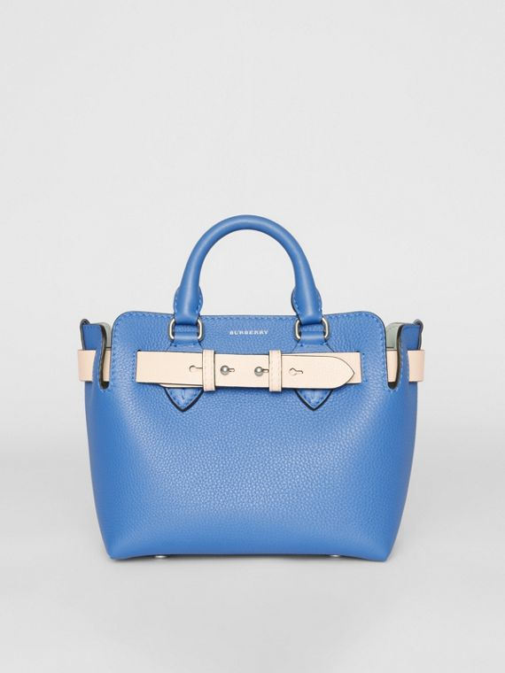 Borsa The Belt mini in pelle (Blu Ortensia)