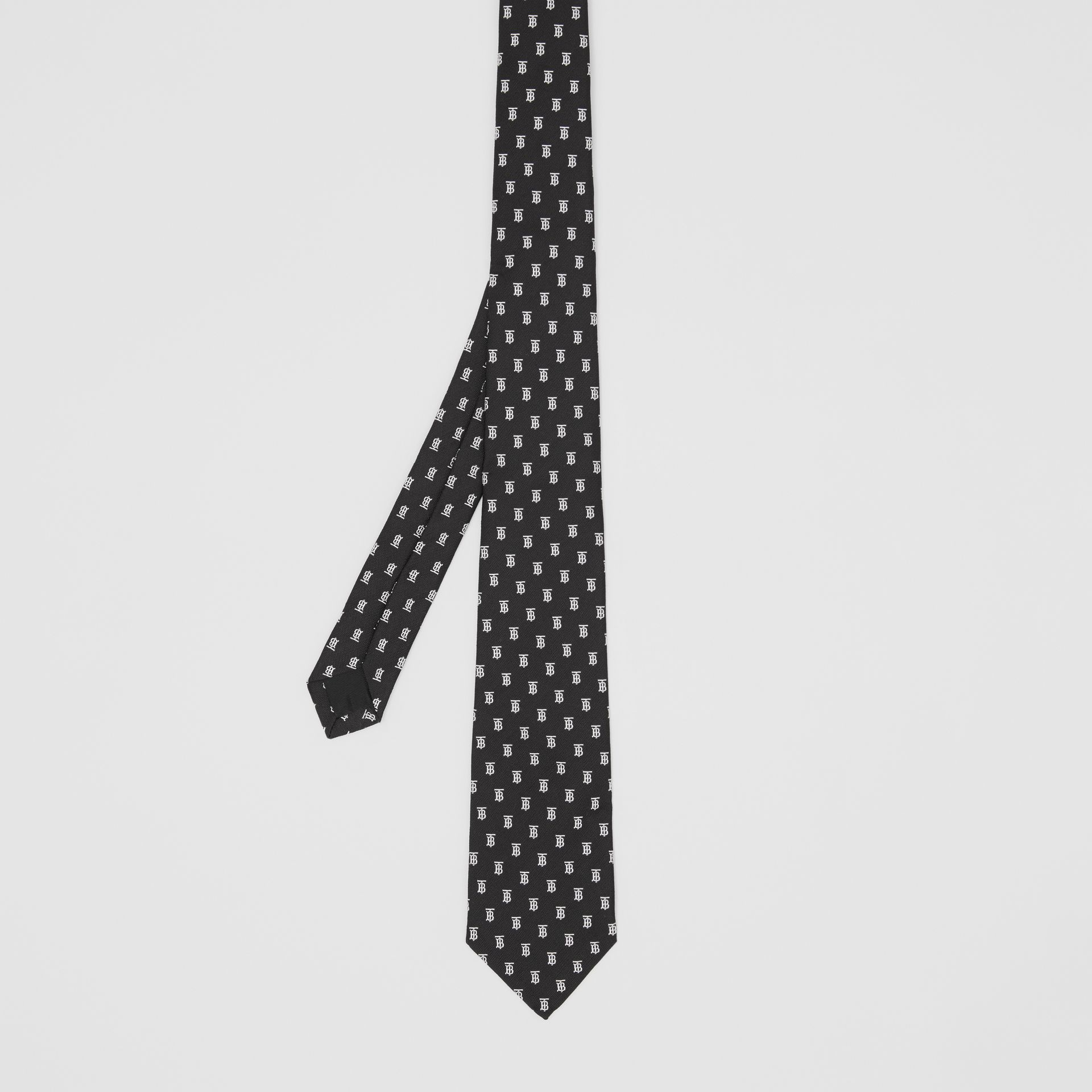 Classic Cut Monogram Motif Silk Jacquard Tie in Black - Men | Burberry United Kingdom - gallery image 4