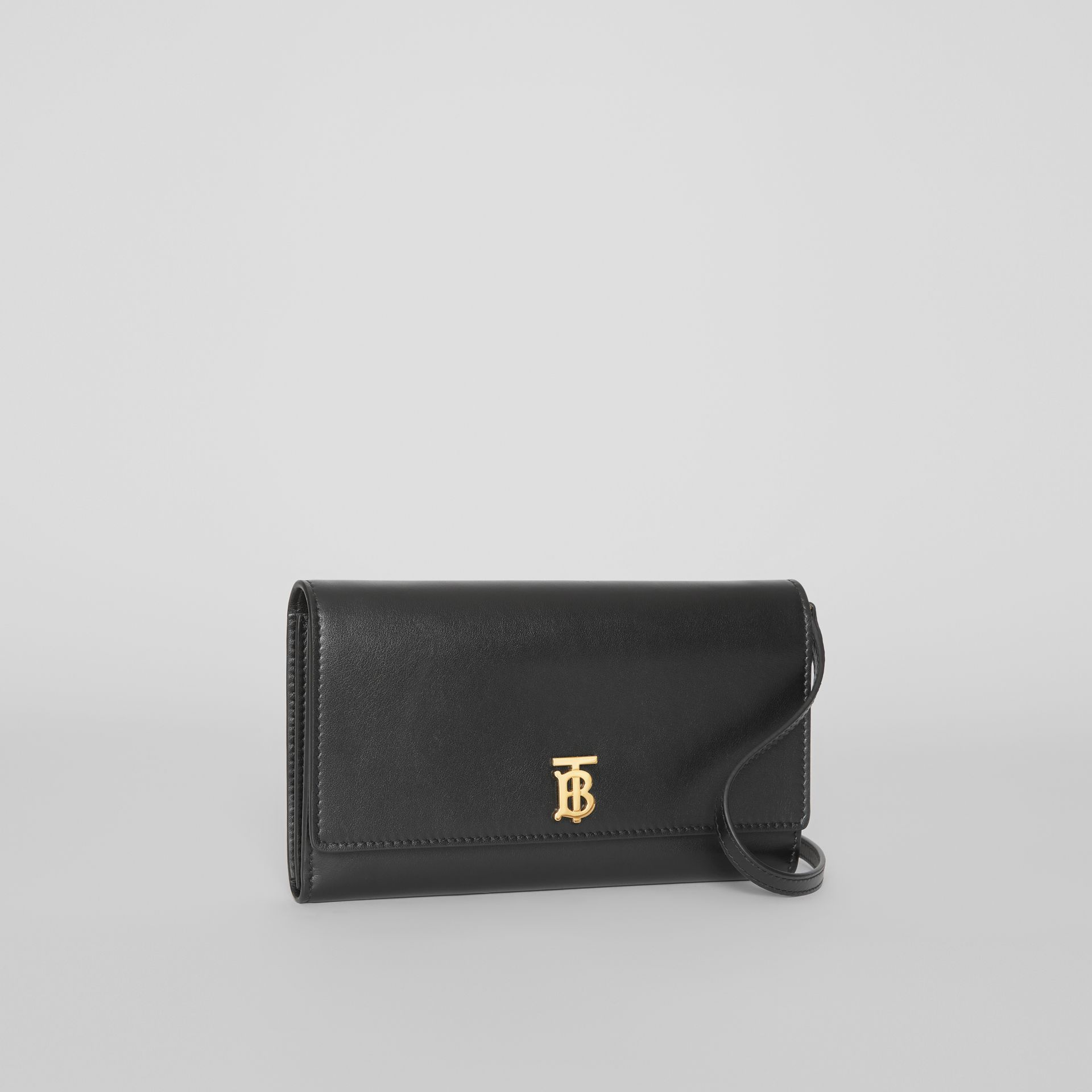 Monogram Motif Leather Wallet with Detachable Strap in Black - Women | Burberry - gallery image 7