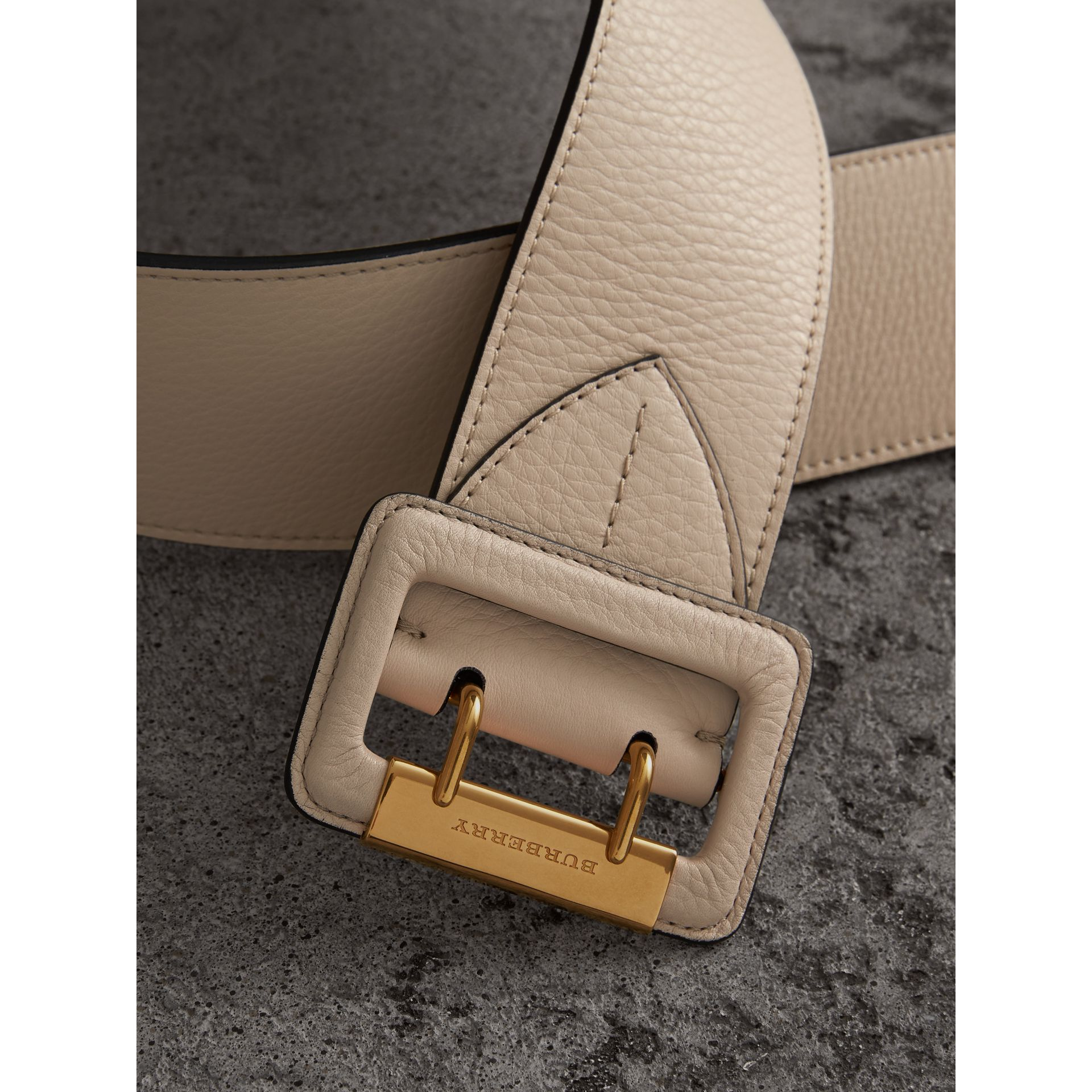 Double Pin Buckle Leather Belt in Limestone - Women | Burberry - gallery image 1
