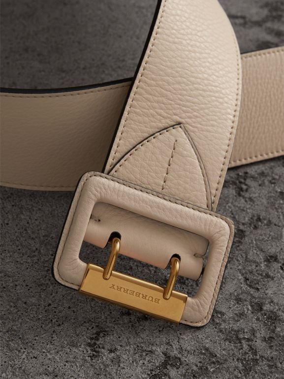 Double Pin Buckle Leather Belt in Limestone - Women | Burberry - cell image 1