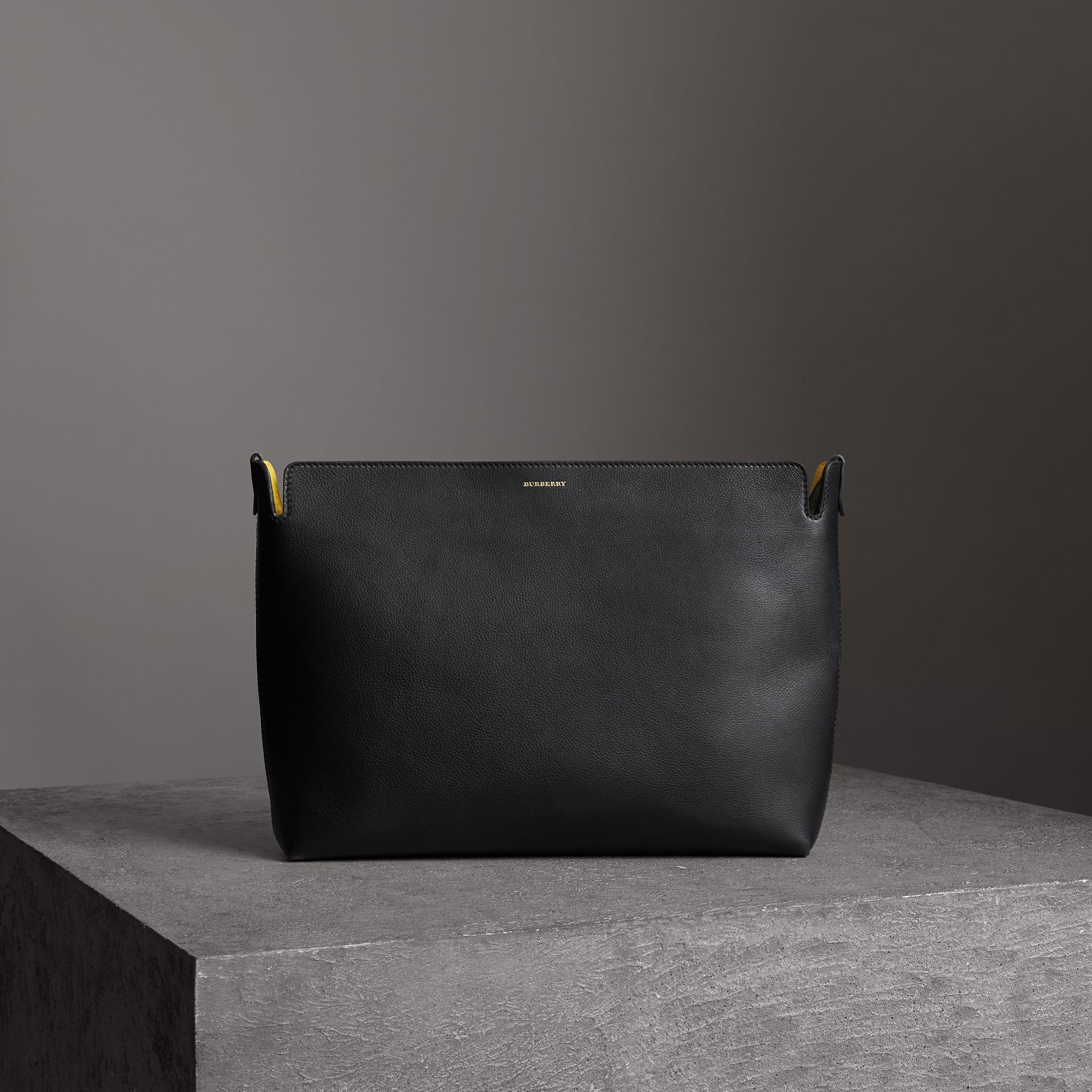Large Tri-tone Leather Clutch in Black/sea Green - Women | Burberry - gallery image 0