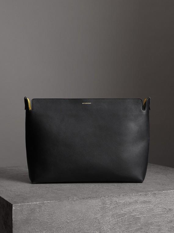 Grand clutch en cuir tricolore (Noir/vert Marin)