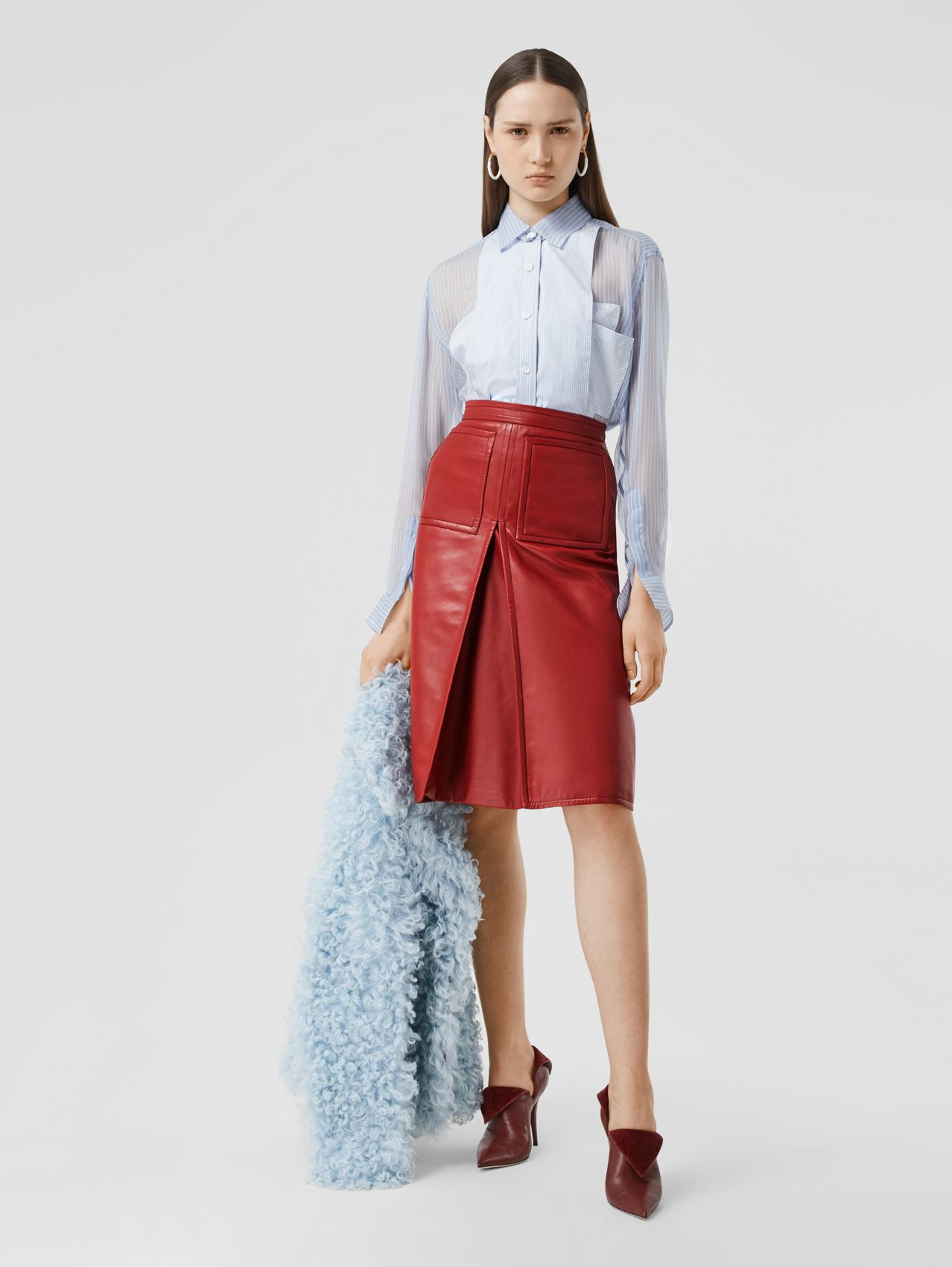Box-pleat Detail Leather A-line Skirt in Dark Carmine