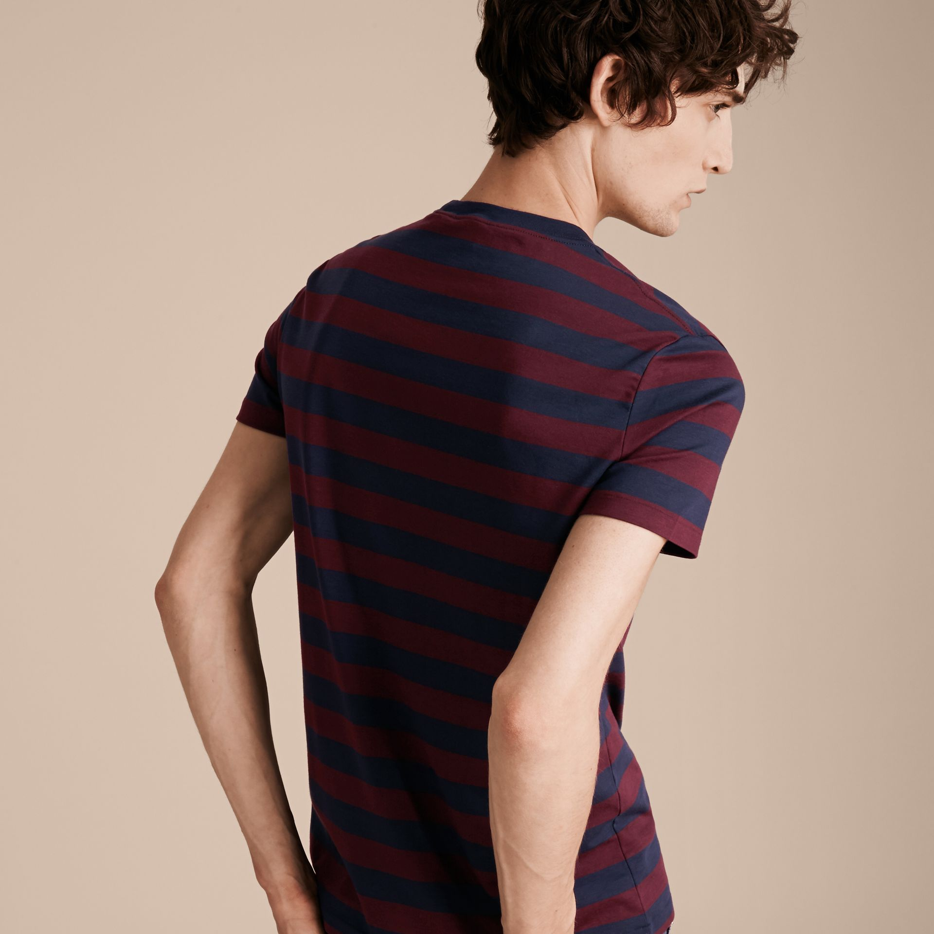 Burgundy red Striped Cotton T-Shirt Burgundy Red - gallery image 3