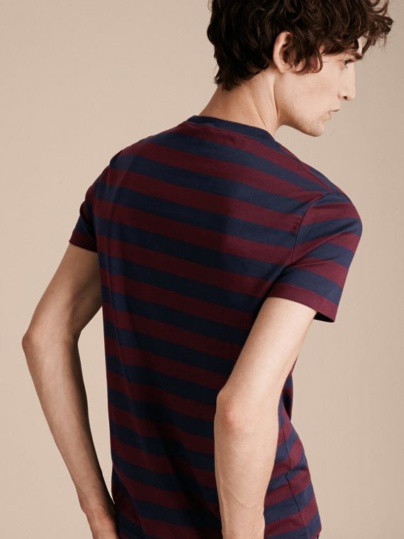 Burgundy red Striped Cotton T-Shirt Burgundy Red - cell image 2