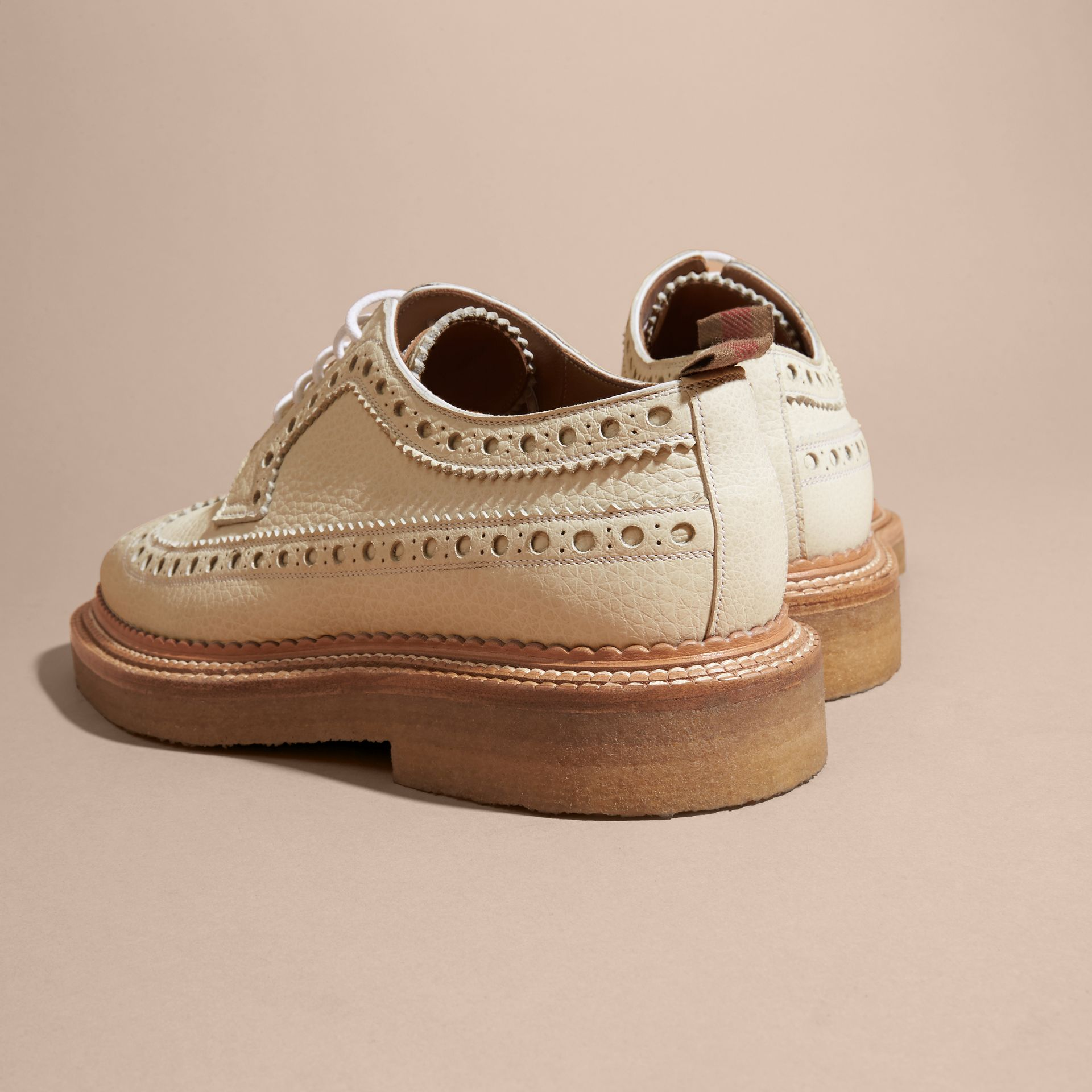 Leather Wingtip Brogues Off White - gallery image 4